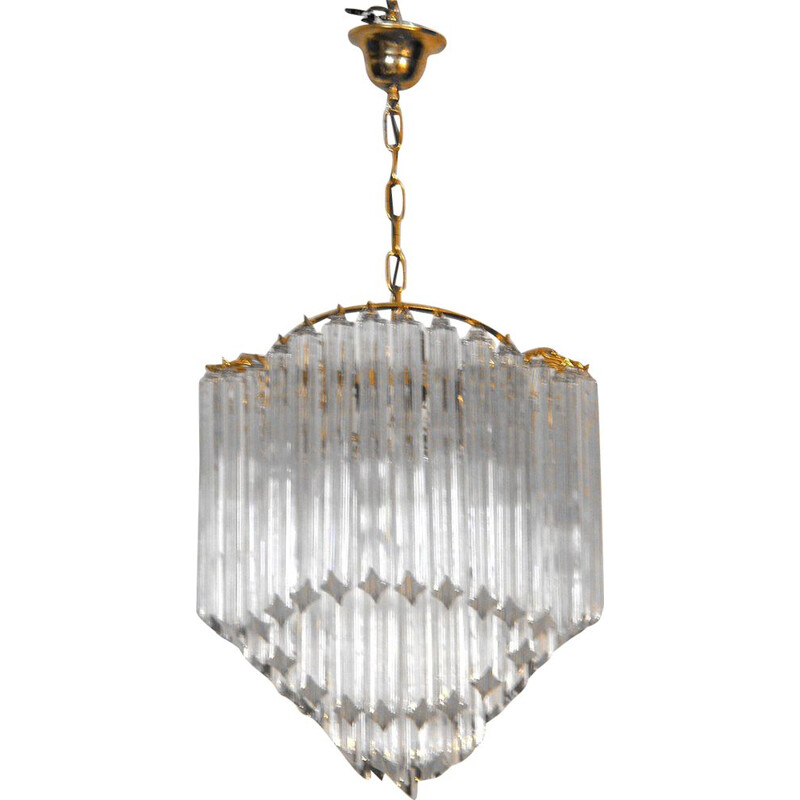 Vintage ceiling lamp crystal Paolo Venini Italy 1970