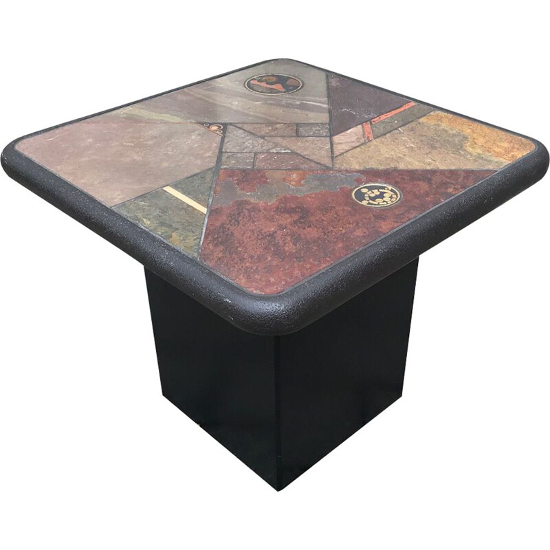 Small vintage brutalist ceramic Mosaic coffee table by Paul Kingma for Fedam 1989