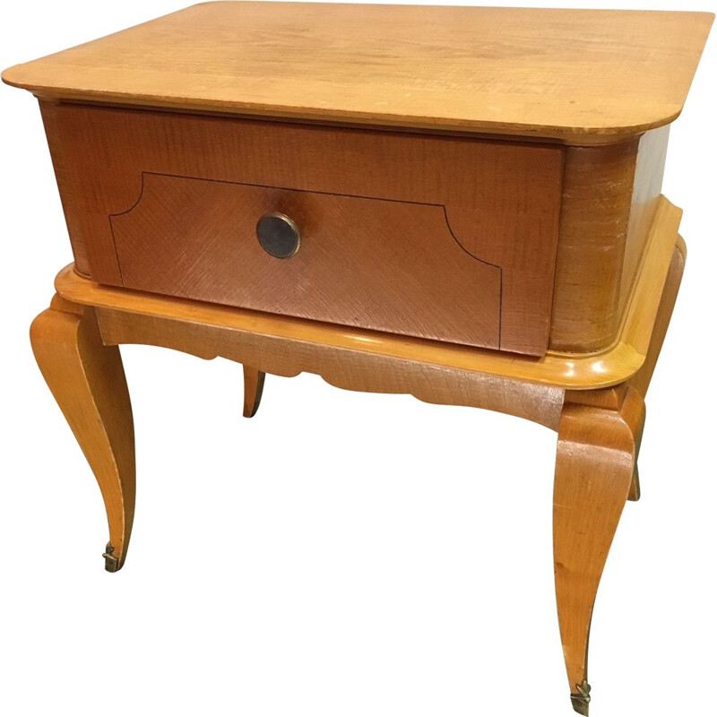 Small bedside cabinet vintage wood Clair 1960