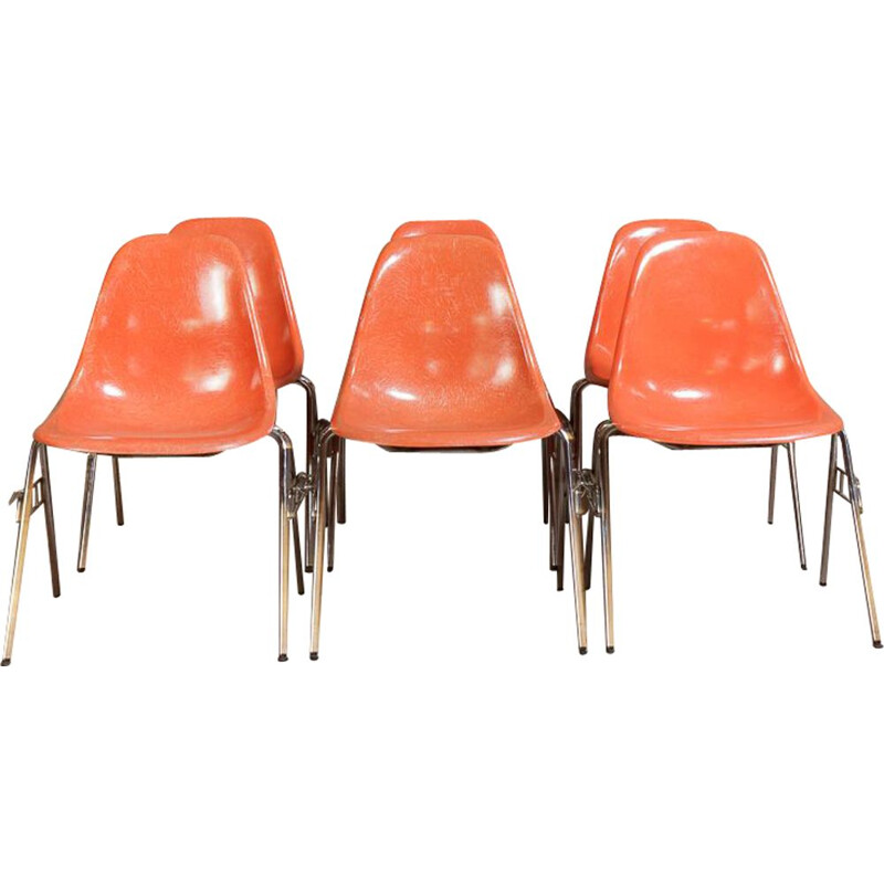 Set of 6 vintage DSS chairs by Charles and Ray Eames for Herman Miller
