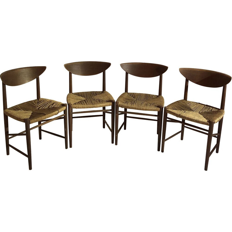 Suite of 4 vintage teak and straw chairs