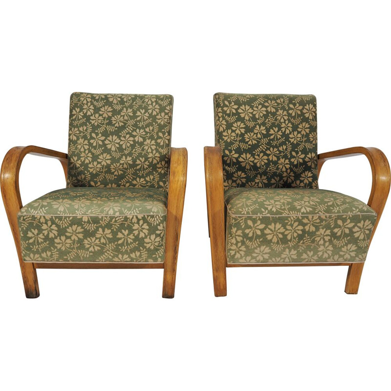 Pair of vintage Armchairs by Jindřich Halabala Art Deco 1950s