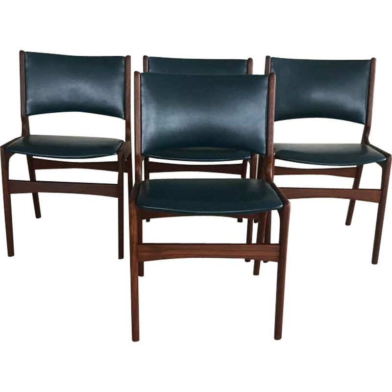 Set of 4 vintage Dining Chairs in Solid Teak, Inc. Reupholstery Danish 1980s