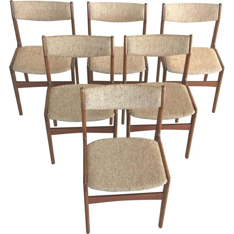Set of 6 vintage Teak Dining Chairs Inc. Reupholstery Erik Buch Danish 1960s