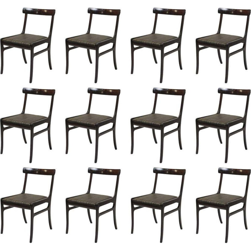 Set of 12 vintage Mahogany Dining Chairs, Inc. Reupholstery Ole Wanscher 1960