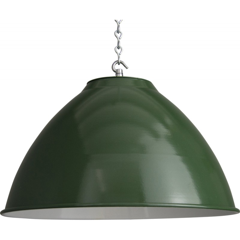 Industrial French green ceiling lamp in steel - 1950s