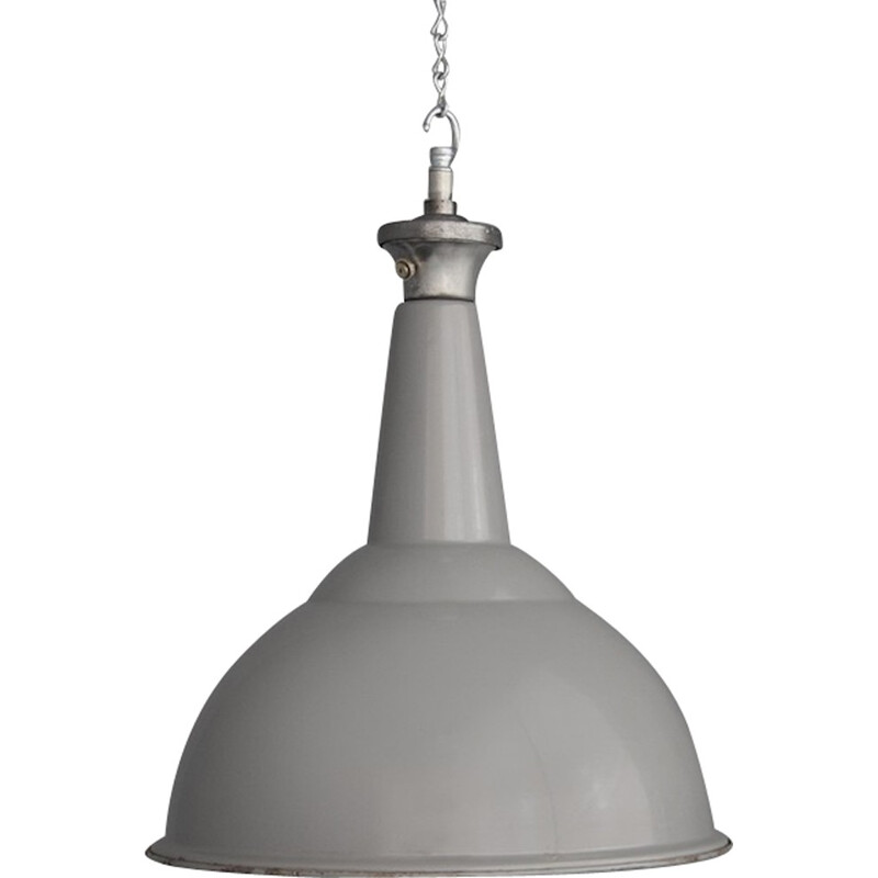 Industrial pendant lighting in grey lacquered steel - 1950s