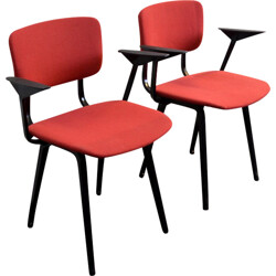 Set of 2 Arhend Circle red and black chairs, Friso KRAMER - 1960s