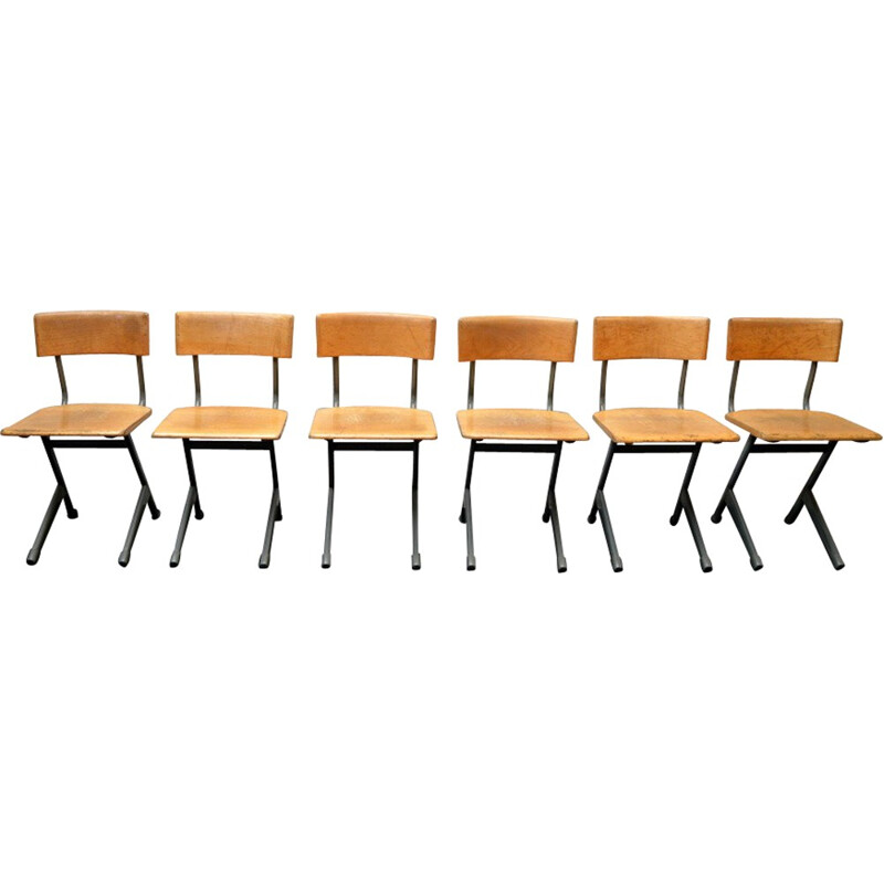 Set of 6 industrial chairs in wood and steel - 1950s