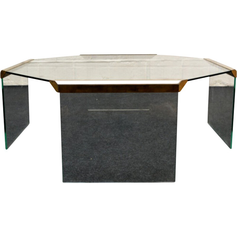 Octagonal glass and brass Gallotti & Radice coffee table, Pierangelo GALLOTTI - 1970s