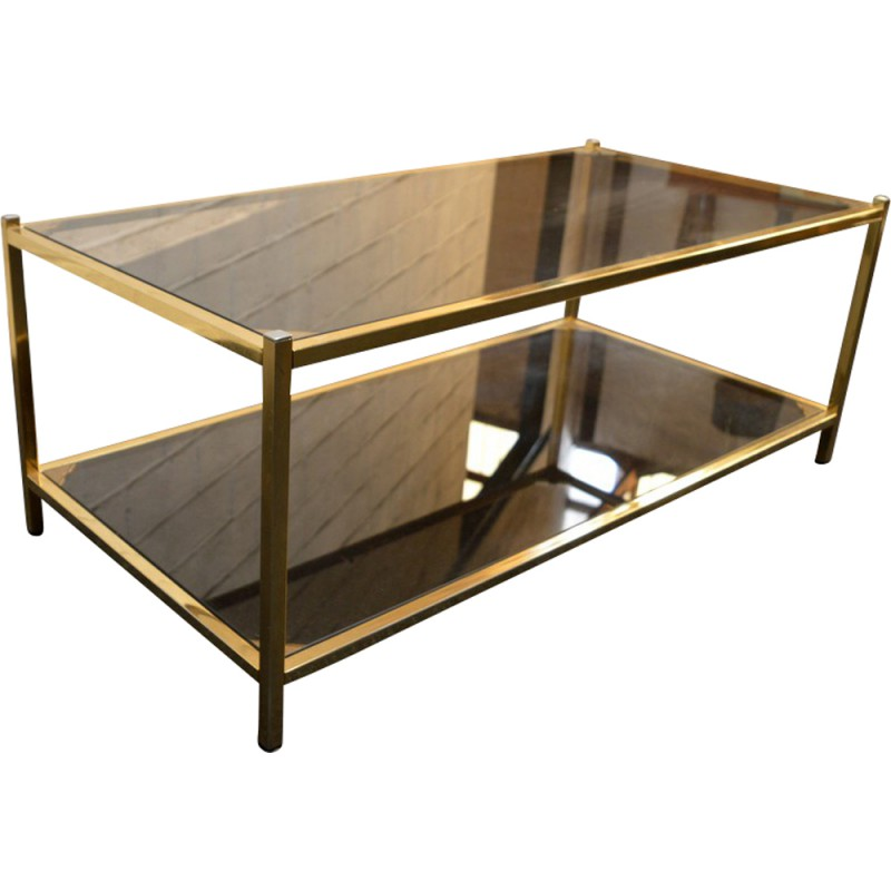 Gold Plated Coffee Table: Belgo Chrome Smoked Glass And Gold Plated Coffee Table