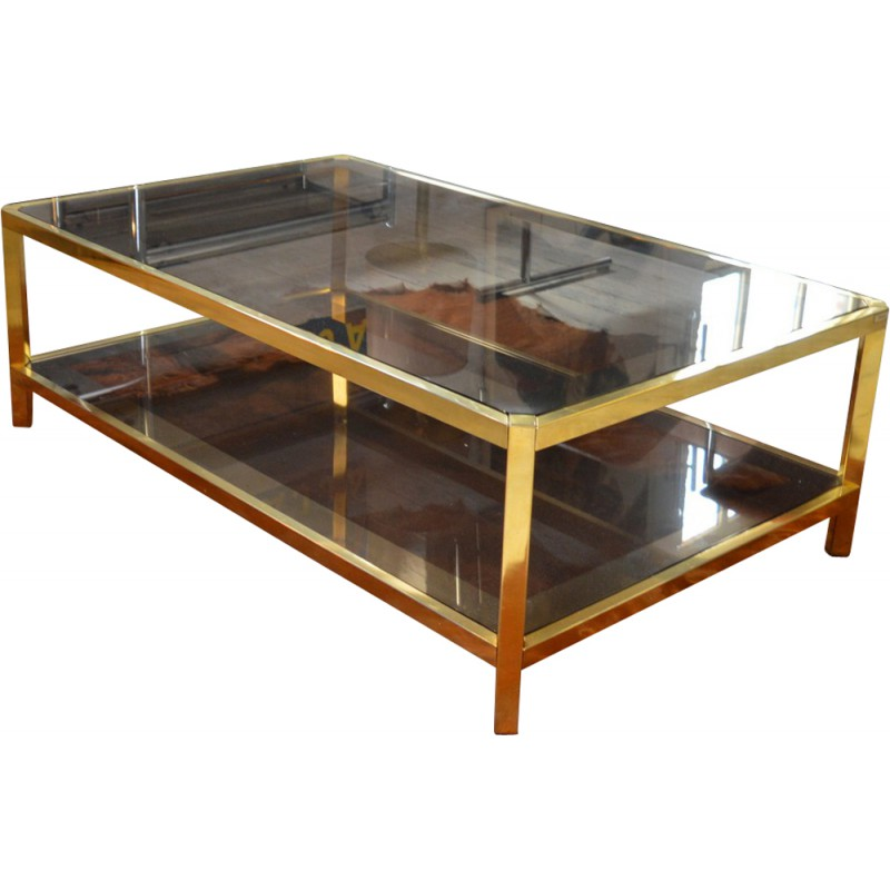 Gold Plated Coffee Table: Fedam Smoked Glass And Gold-plated Coffee Table