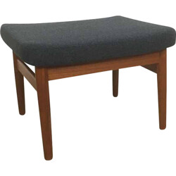 Teak and grey fabric France & Son ottoman, Arne VODDER - 1960s