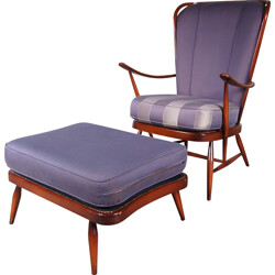 Armchair and its foot rest  in beech and purple fabric, Lucian ERCOLANI - 1950s