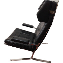 """Airbone """"Joker"""" black armchair in leather and chromium, Olivier MOURGUE - 1970s"""