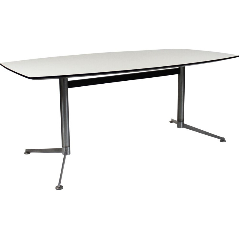 Vintage Dining table with white laminate and steel legs Charles and Ray Eames 2005