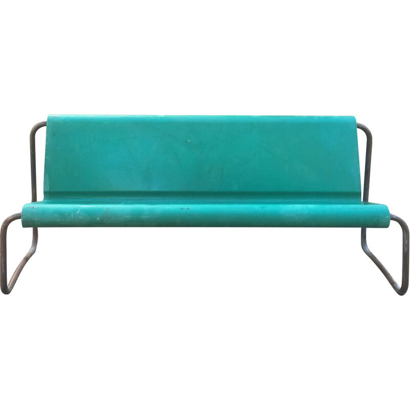 Vintage 3-seater fiberglass bench Willy Guhl Switzerland 1960