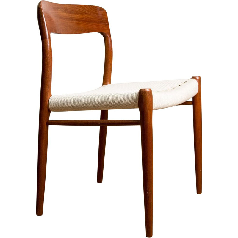 Suite of 6 vintage chairs in Teak and rope, model N 75 from N.O.Moller Danish