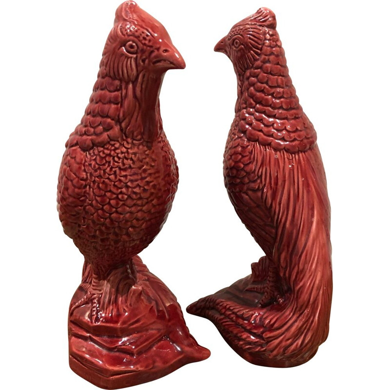 Pair of vintage ceramic birds saint clement 1950