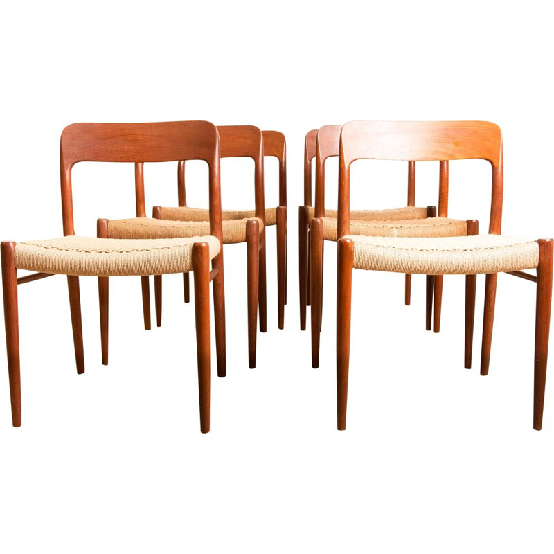 Set of 6 vintage teak and string chairs model N 75 from N.O.Moller Danoises