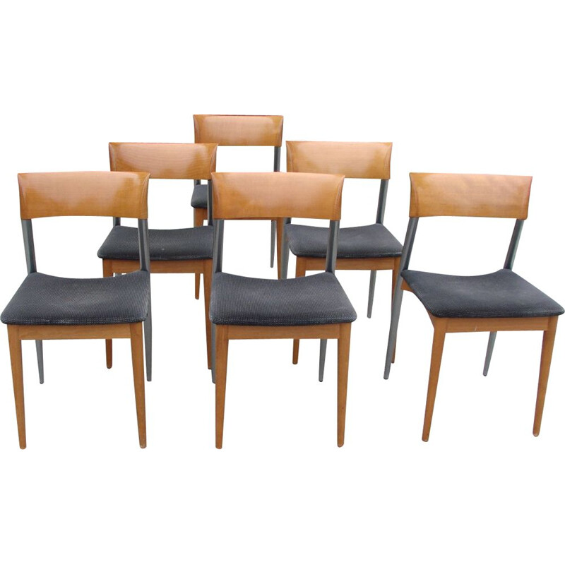Set of 6 vintage Potocco chairs, Italy 1980s