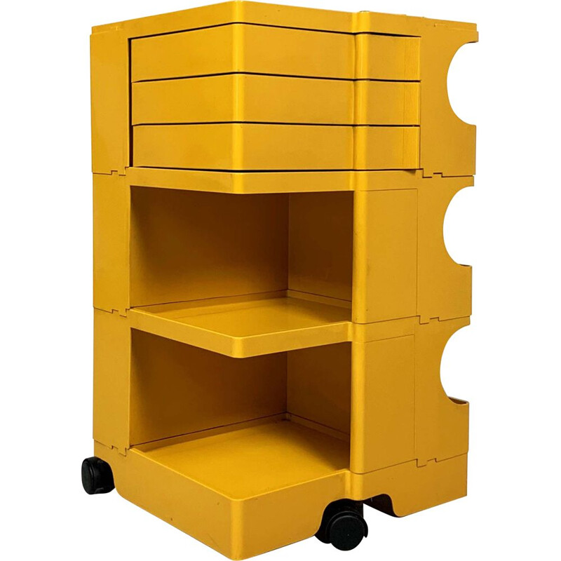 Vintage Yellow Boby Trolley by Joe Colombo for Bieffeplast, 1960s