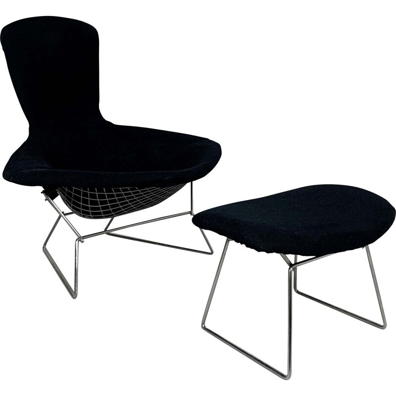 Vintage Bird Lounge Chair plus Ottoman by Harry Bertoia for Knoll, 1960s