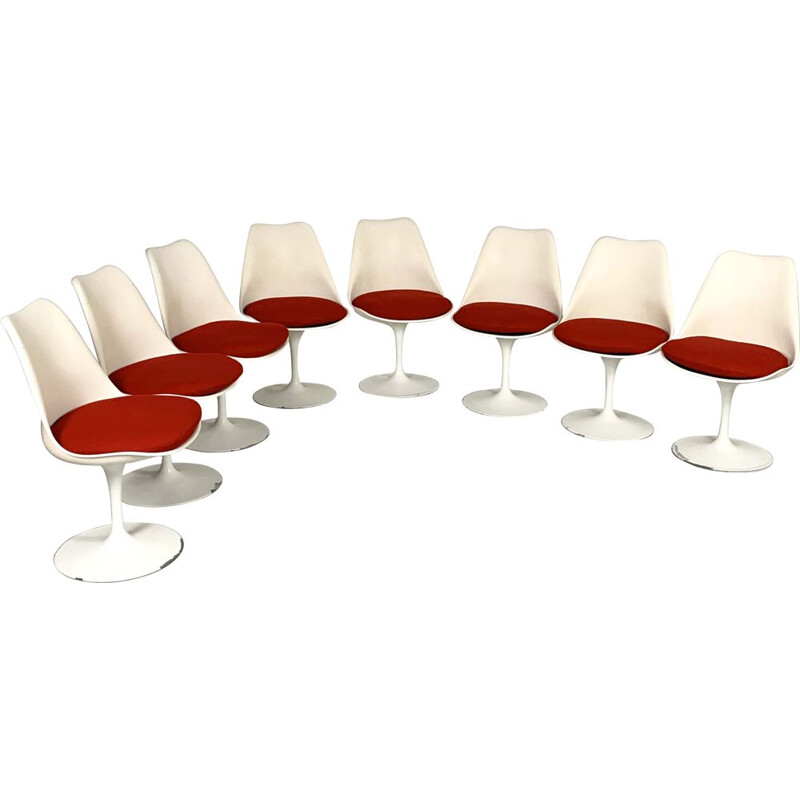 Set of 8 vintage Tulip Dining Chairs by Eero Saarinen for Knoll, 1970s