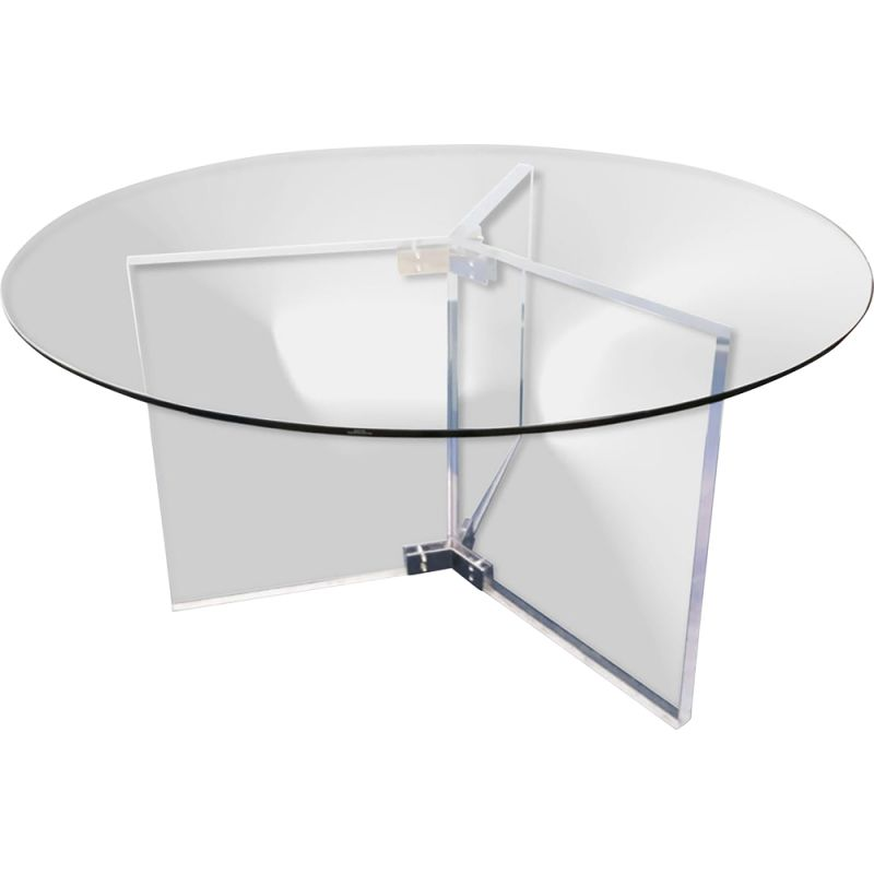 Vintage Xl Lucite Glass Chrome Round, Glass Round Dining Table