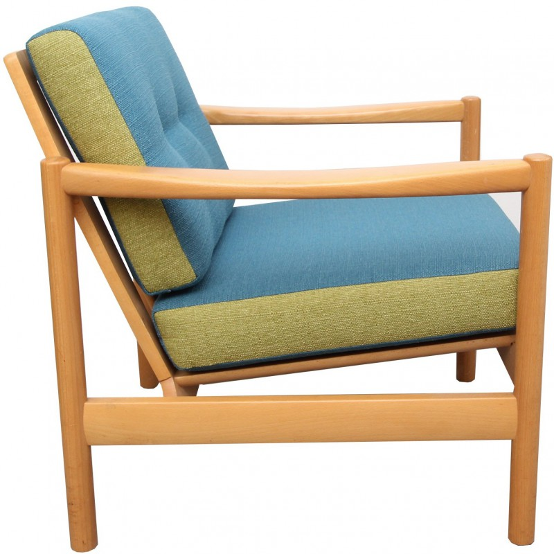 Vintage Armchair In Solid Bright Wood And Blue And Green Fabric   1960s