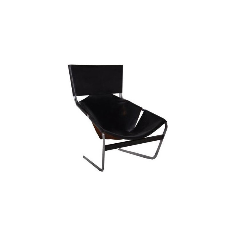 "Artifort ""F444"" armchair in black leather, Pierre PAULIN - 1960s"