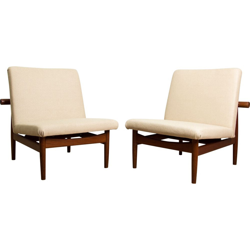 Pair of Vintage Teak, Brass and Fabric Armchairs, model 137 by Finn Juhl Danish 1958