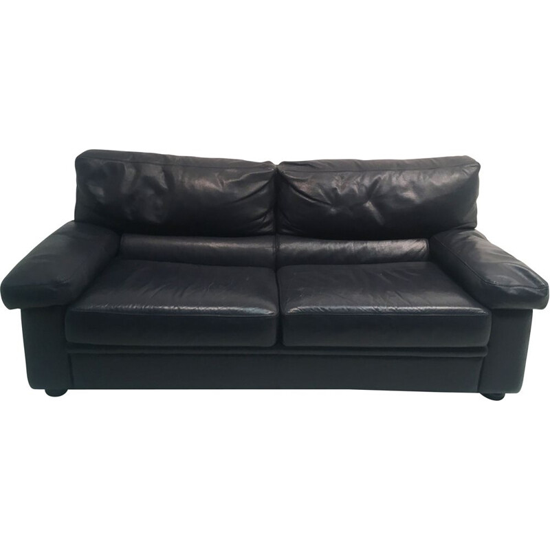 Vintage Navy Leather convertible sofa