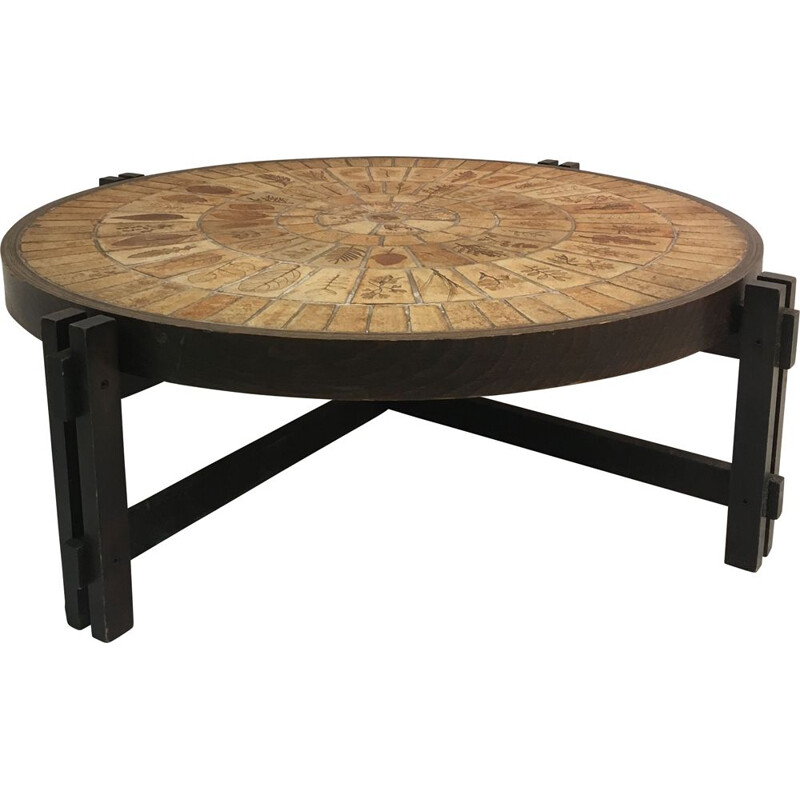 Vintage round coffee table R. Capron 1960