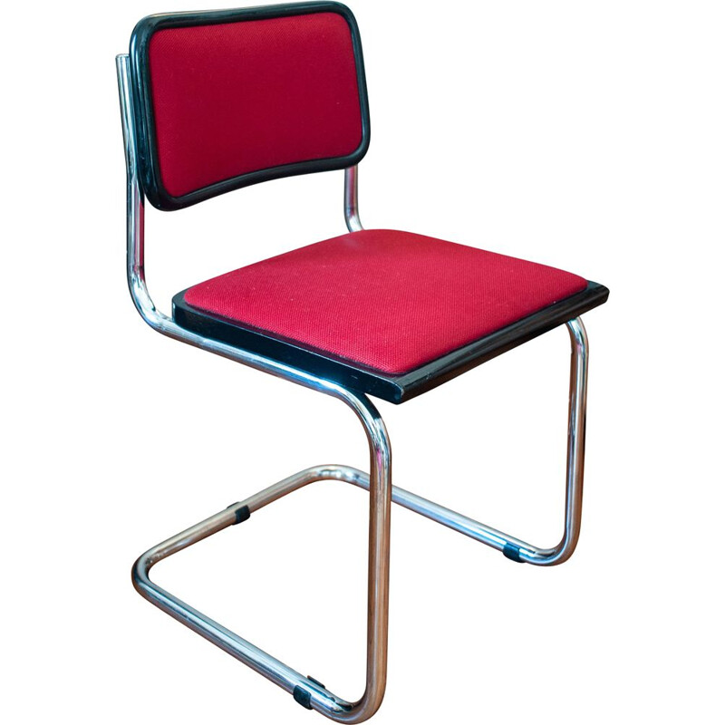 Vintage B32 chair Marcel Breuer red fabric Italy 1980