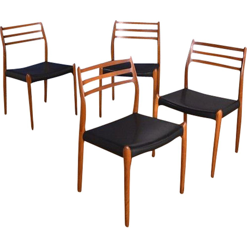 Set Of 4 vinttage  Teak Chairs Niels Moller Model 78