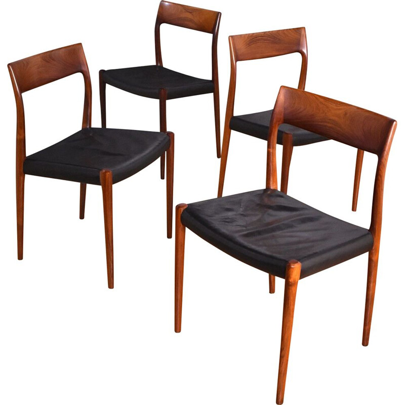 Set Of 4 vintage  Rosewood Chairs Niels Moller Model 77