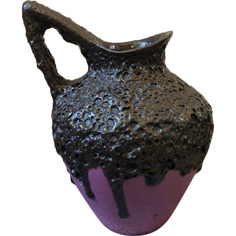 Mid-Century Purple and Black Lava Ceramic German Jug, 1970