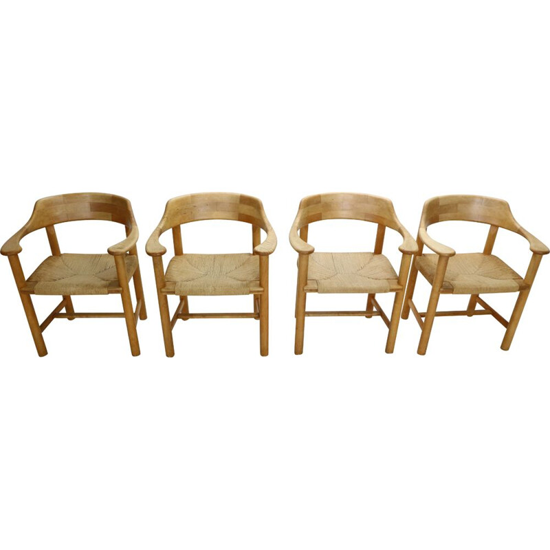 Set of 4 Vintage Dining Room Chairs Rainer Daumiller for Hirtshals Sawmill, Denmark 1970