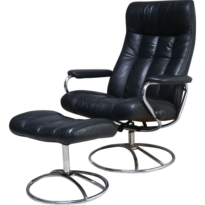 Vintage reclining swivel lounge chair and ottoman by Ekornes Norwegian 1960s