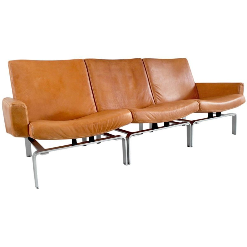 Meget Leather and aluminum Niels Vitsoe 3-seater Scandinavian sofa KK34