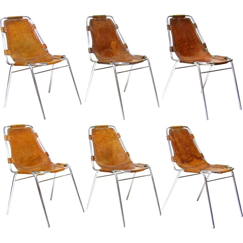 """Set of 6 vintage chairs hide and chromed steel """"Les Arcs"""" ski resort for Charlotte Perriand 1960s"""