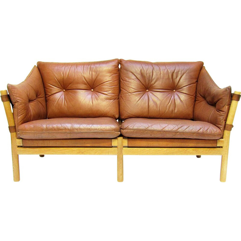 Vintage 'Ilona' Sofa Loveseat In Tan Leather By Arne Norell 1960s