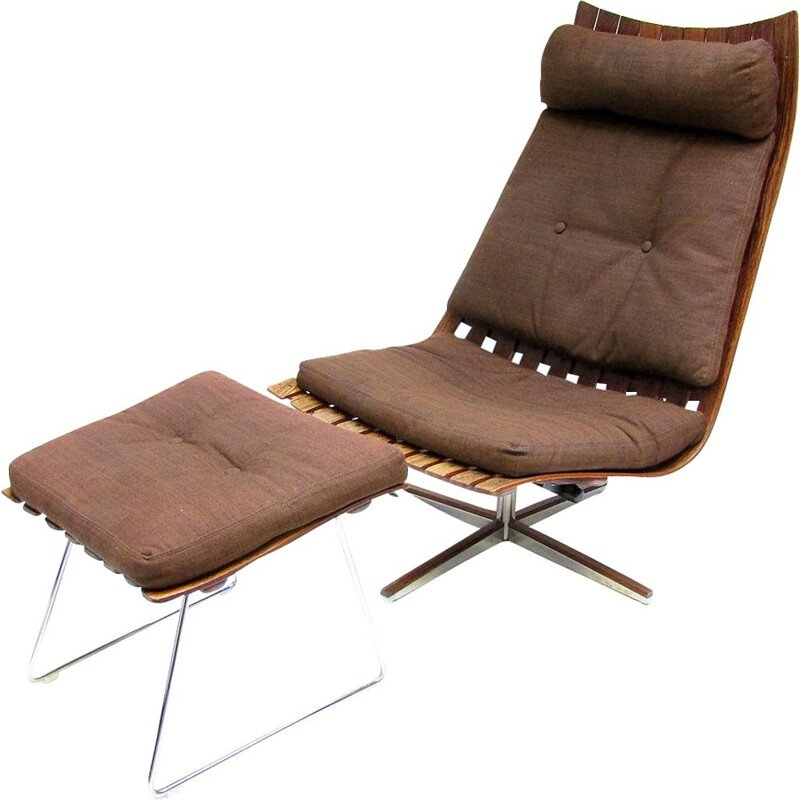 Vintage 'Scandia' Lounge Chair & Footstool By Hans Brattrud 1960s
