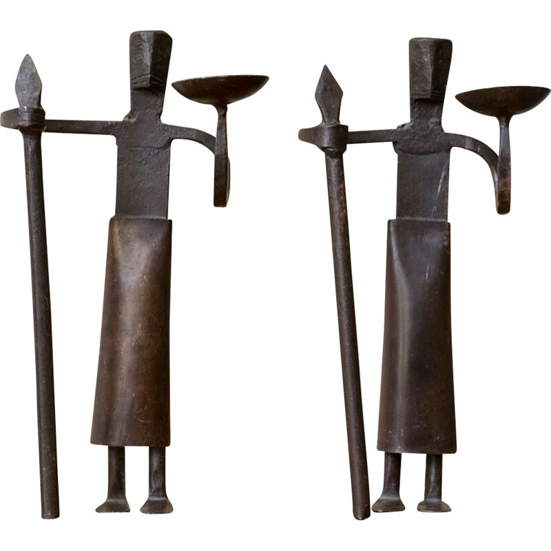 Pair of vintage wrought iron candleholders, France, 1950