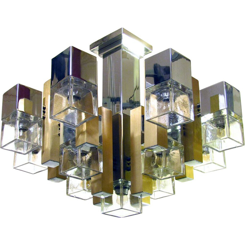 Vintage Cubic Chandelier In Chrome, Brass & Glass By Gaetano Sciolari 1960s
