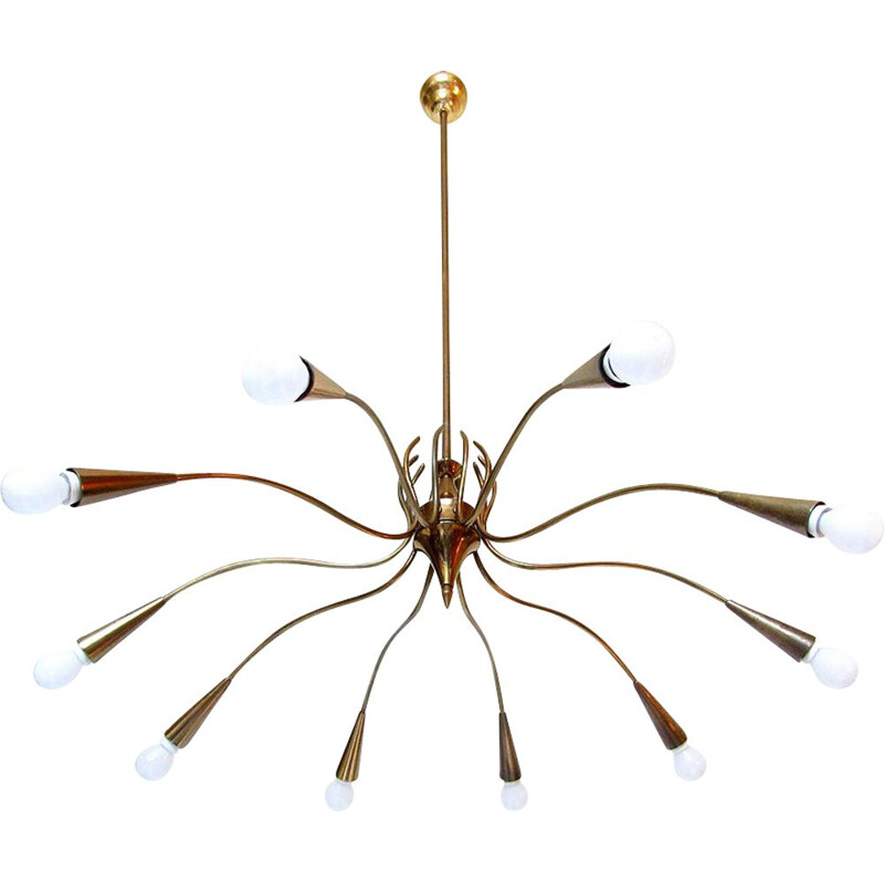 Grand vintage  Chandelier By Oscar Torlasco Italian 1950s