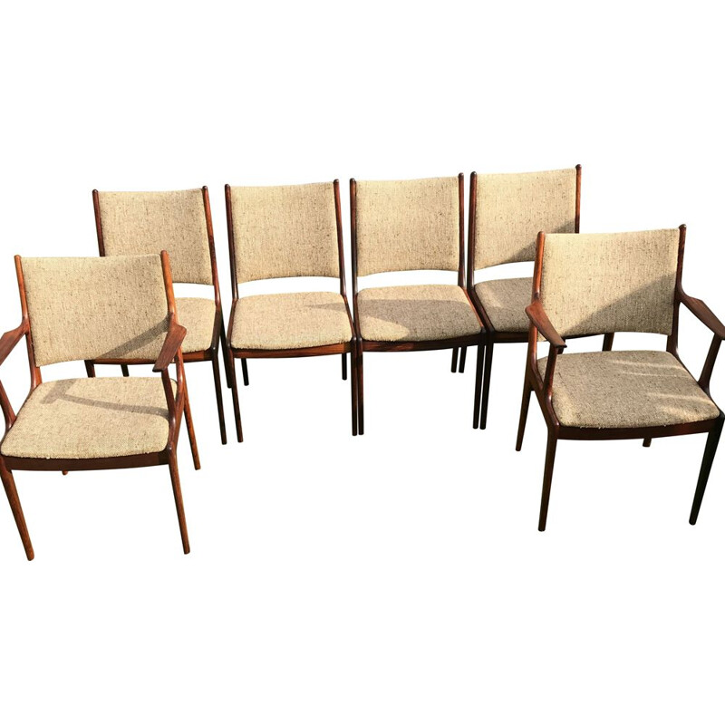 Set of 6 Vintage Chairs Rosewood Johannes Andersen for Uldum Møbelfabrik Danish Brazilian