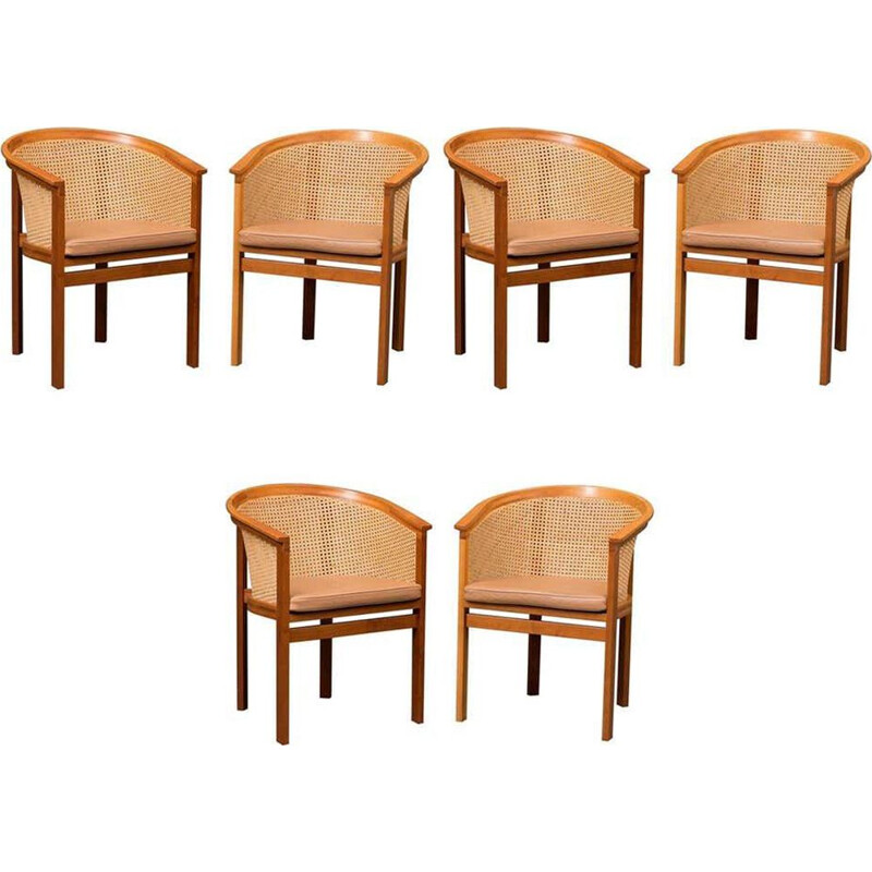 Set of 6 Armchairs vintage Rud Thygesen and Johnny Sørensen King 1980s