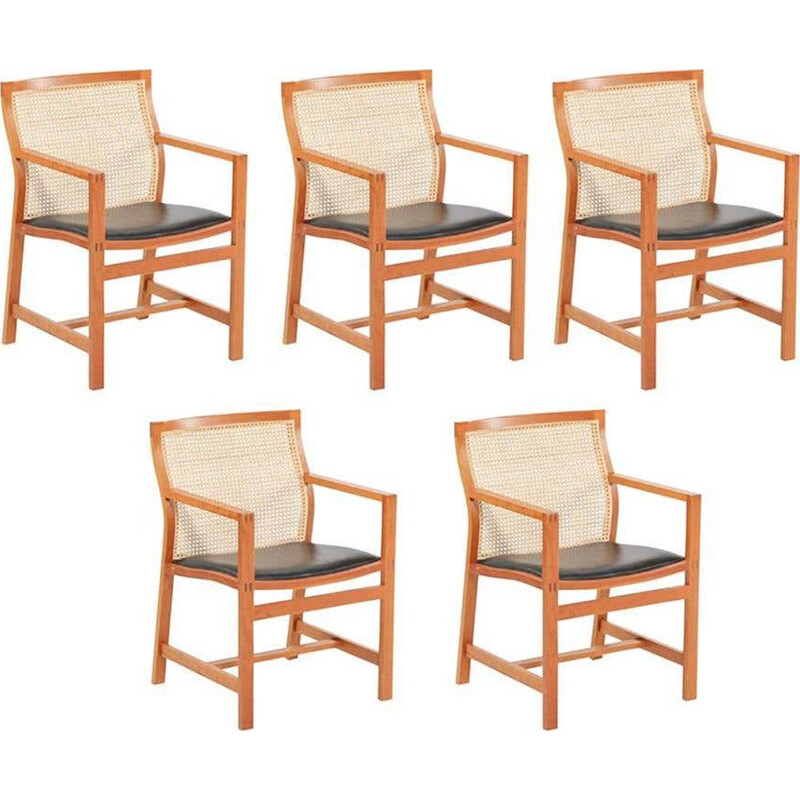 Set of 5 vintage King Series Cherry Armchairs Rud Thygesen and Johnny Sorensen 1980s